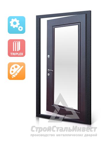 металлические двери с зеркалом от производителя недорого
